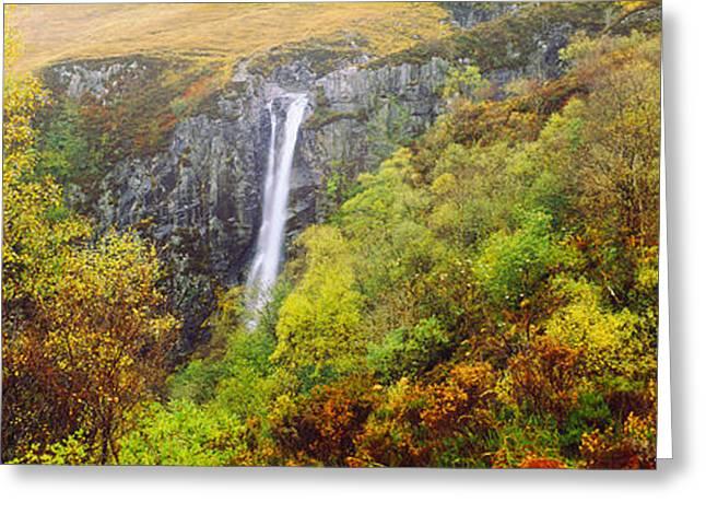 Waterfall In Autumn, Eas Mor, Allt Greeting Card
