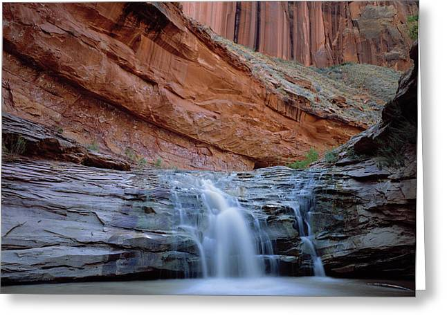 Waterfall In Coyote Gulch Greeting Card