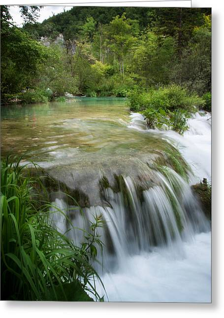 Greeting Card featuring the photograph Waterfall In Plitvice by Laura Melis