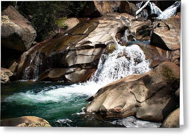 Waterfall In The Colorado Rocky Mountains Greeting Card by Julie Magers Soulen