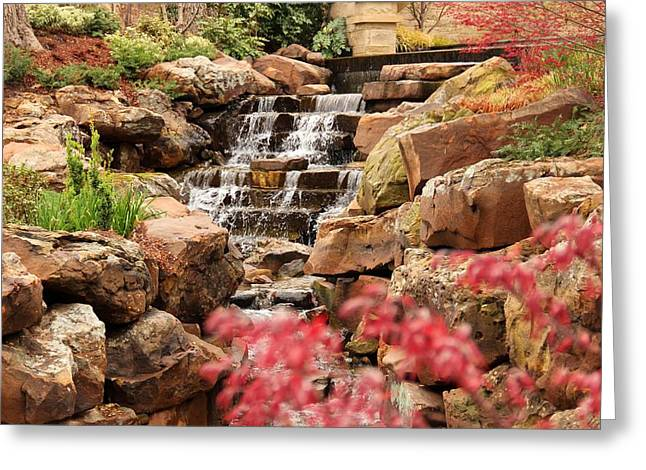 Greeting Card featuring the photograph Waterfall In The Garden by Elizabeth Budd