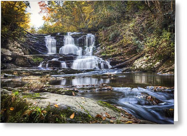 Waterfall In The Smokies Greeting Card by Debra and Dave Vanderlaan