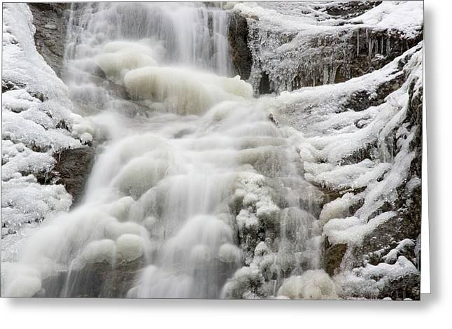 Waterfall In The Winter Greeting Card