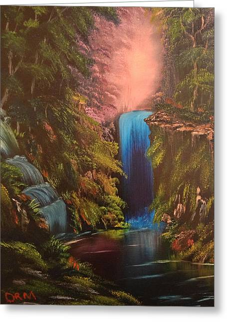 Waterfall In The Woods Greeting Card by Koko Elorm