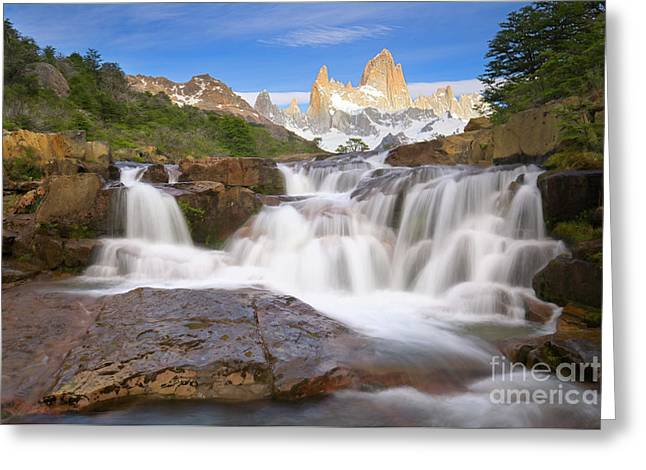Los Glaciares Waterfall Greeting Card by Yva Momatiuk John Eastcott