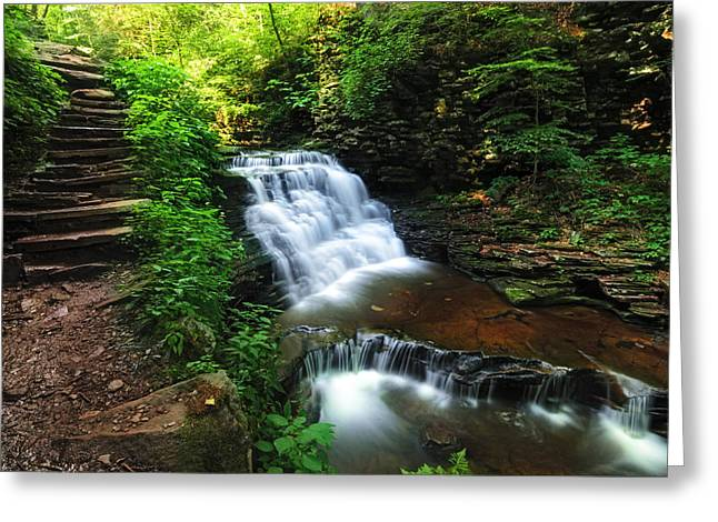 Waterfall Paradise With Stone Stairway Greeting Card by Aaron Smith