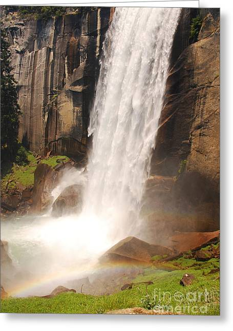 Greeting Card featuring the photograph Waterfall Rainbow by Mary Carol Story