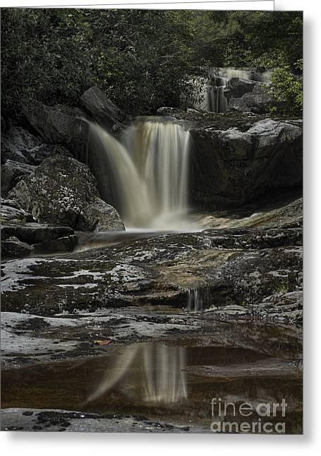 Waterfall Reflection On Big Run River  Greeting Card by Dan Friend