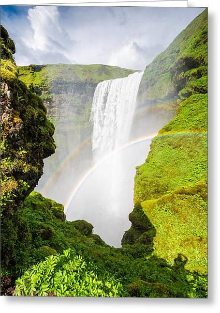 Waterfall Skogafoss Iceland Europe Greeting Card by Matthias Hauser