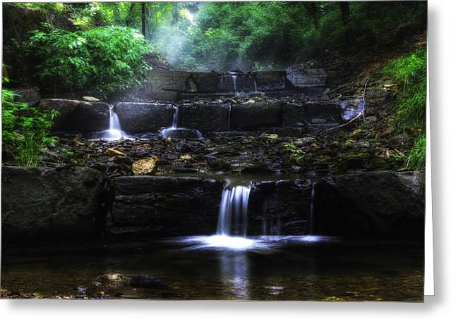 Waterfall Steps In Chestnut Hill Greeting Card
