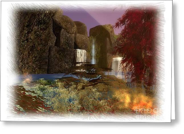 Greeting Card featuring the digital art Waterfall by Susanne Baumann