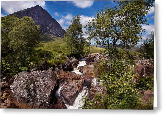 Waterfall Towards Buachaille Etive Mor - Glencoe Greeting Card by Niall McWilliam