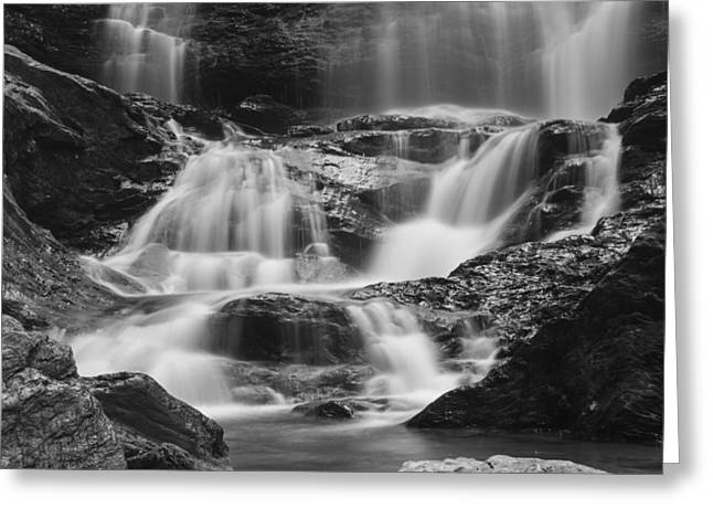 Waterfall Vermont Water Black And White Landsape Greeting Card