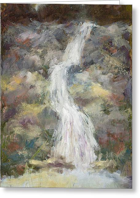 Waterfall With Gold Leaf By Vic Mastis Greeting Card by Vic  Mastis