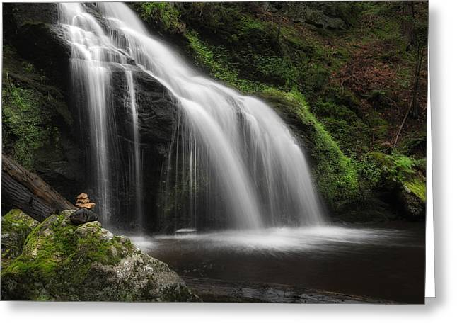 Waterfall Zen Square Greeting Card by Bill Wakeley