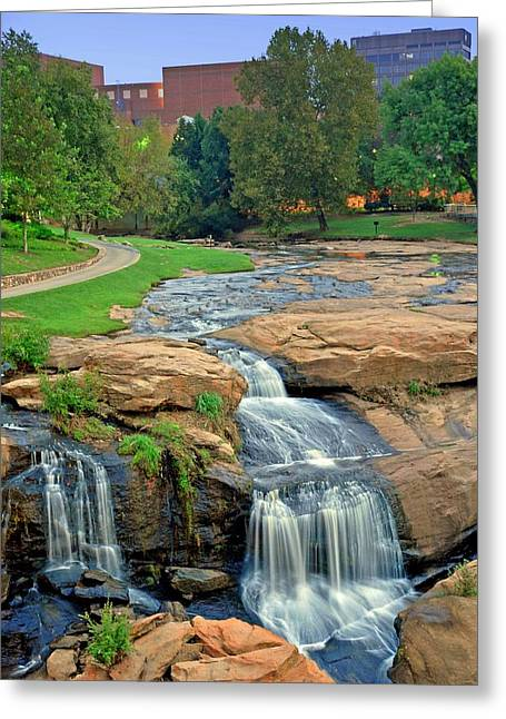 Waterfalls And Downtown Greenville Sc Skyline At Dawn Greeting Card