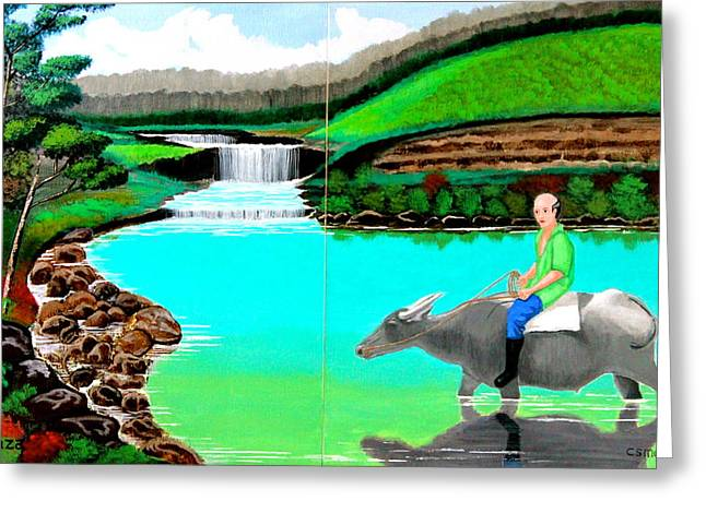 Greeting Card featuring the painting Waterfalls And Man Riding A Carabao by Cyril Maza