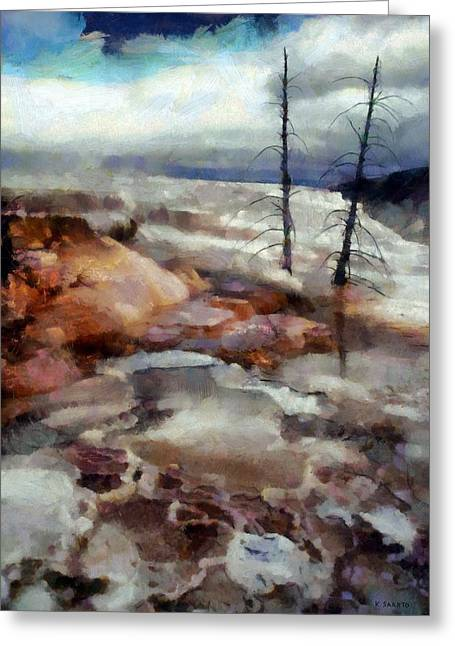 Greeting Card featuring the digital art Waterfalls At Yellowstone by Kai Saarto