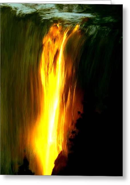 Greeting Card featuring the painting Waterfalls By Light by Bruce Nutting