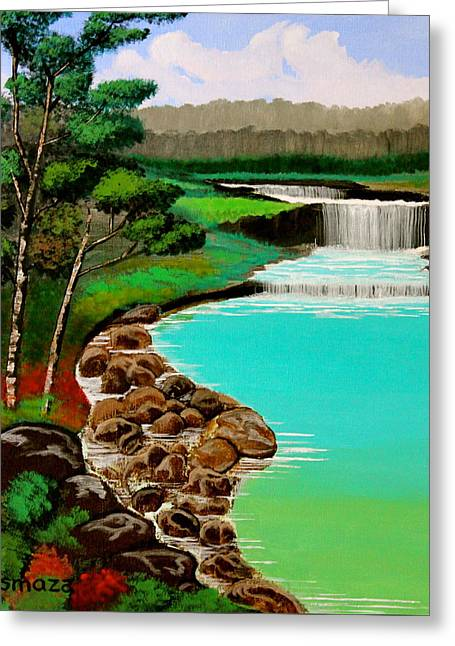 Greeting Card featuring the painting Waterfalls by Cyril Maza
