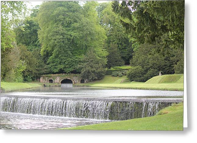 Greeting Card featuring the photograph Waterfalls - Fountains Abbey  by David Grant