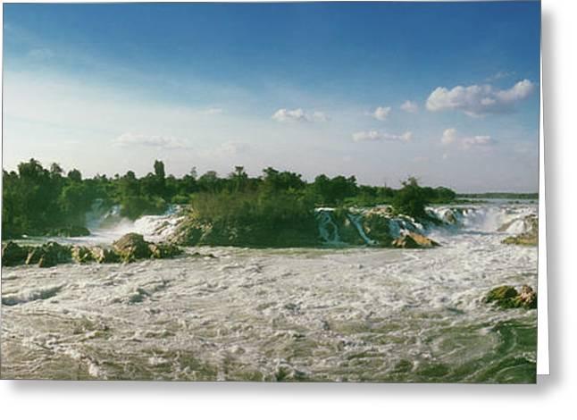 Waterfalls Of Si Phan Don, Mekong Greeting Card by Panoramic Images
