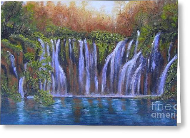 Greeting Card featuring the painting Waterfalls - Plitvice Lakes by Vesna Martinjak