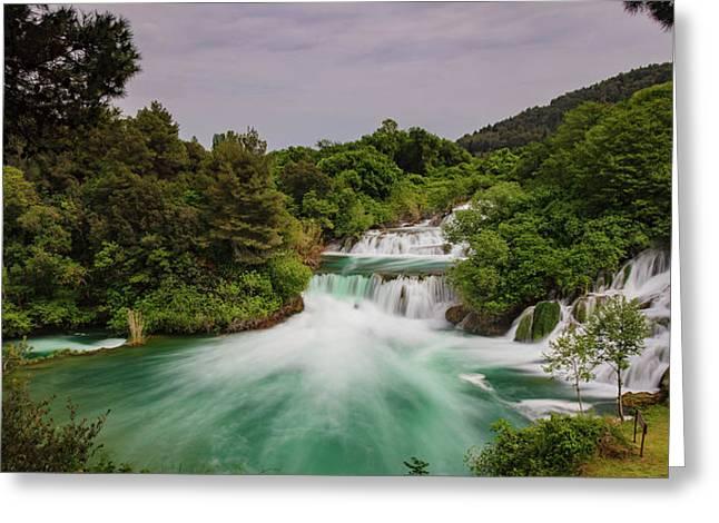Waterfalls Greeting Card by Wladimir Bulgar