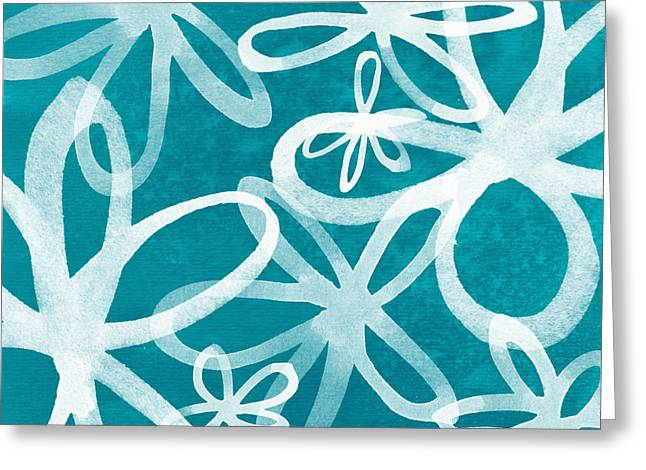 Waterflowers- Teal And White Greeting Card by Linda Woods