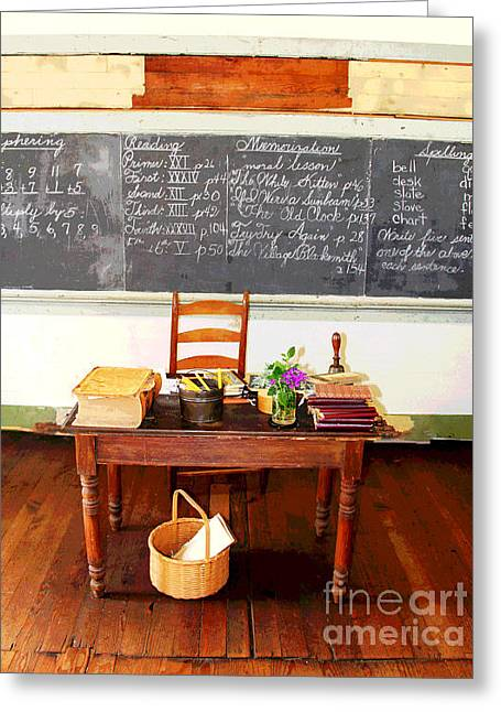 Waterford School Teacher's Desk Greeting Card by Larry Oskin