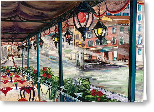 Greeting Card featuring the painting Waterfront Cafe by TM Gand