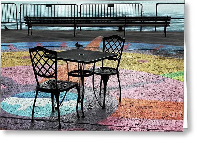 Waterfront Seating Greeting Card by Charline Xia