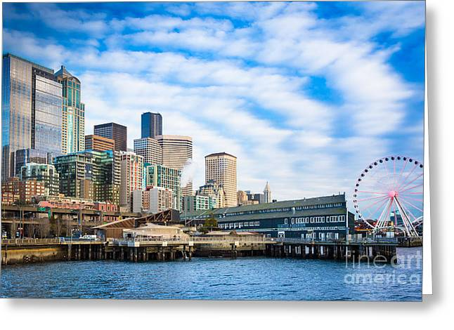 Waterfront Skyline Greeting Card by Inge Johnsson
