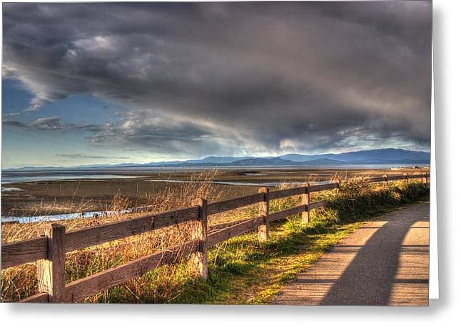 Waterfront Walkway Greeting Card by Randy Hall