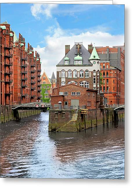 Waterfront Warehouses And Lofts Greeting Card by Miva Stock