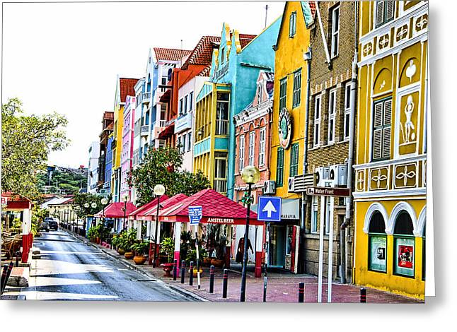 Waterfront - Willemstad Curacao Greeting Card by Jon Berghoff