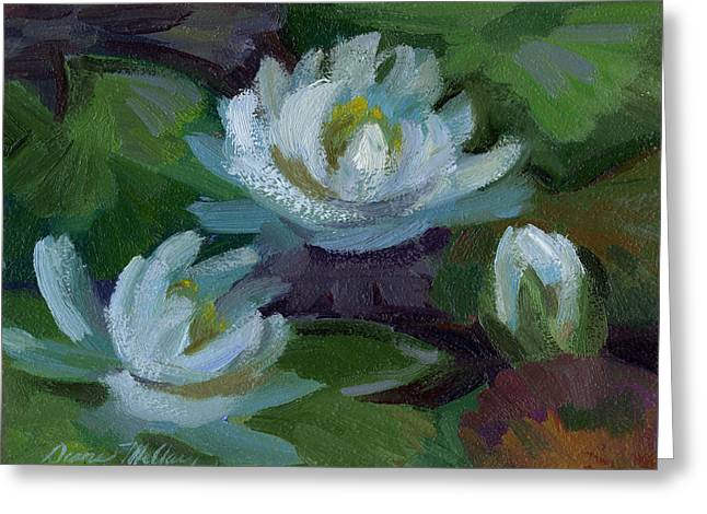 Waterlily Paintings Greeting Cards - Waterlilies at Martha Lake 2 Greeting Card by Diane McClary