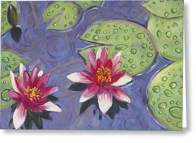 Waterlilies In The Rain Greeting Card
