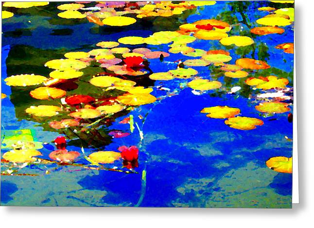 Waterlilies Pond Beautiful Nympheas Hommage De Monet Jardin A Giverny Water Scapes Carole Spandau Greeting Card by Carole Spandau