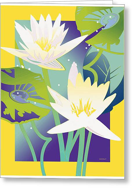 Waterlilies Yellow Border Greeting Card