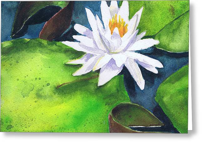 Greeting Card featuring the painting Waterlily by Susan Herbst