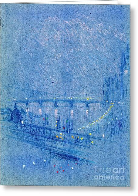 Waterloo Bridge Over Charing Cross Bridge 1901 Greeting Card by Padre Art