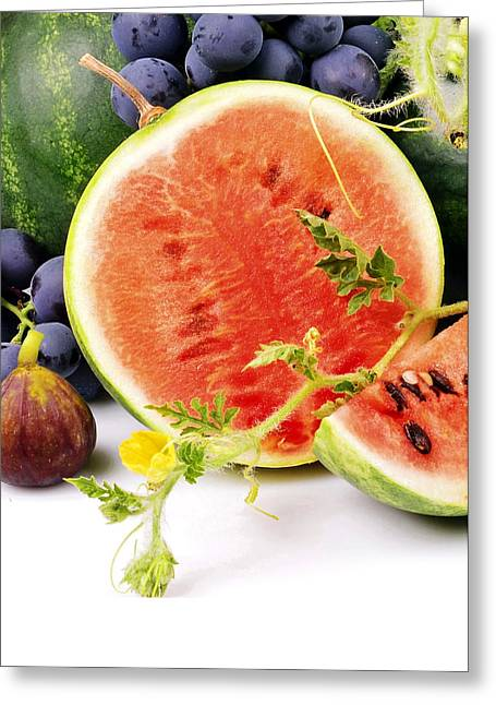 Watermelon And Grapes Greeting Card by Munir Alawi