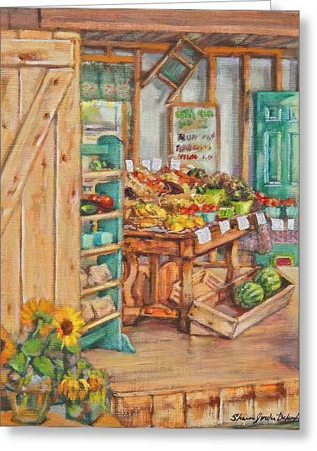 Watermelon Farm Stand Greeting Card by Sharon Jordan Bahosh