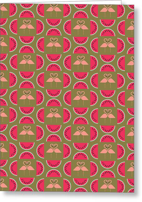 Watermelon Flamingo Print Greeting Card by Susan Claire