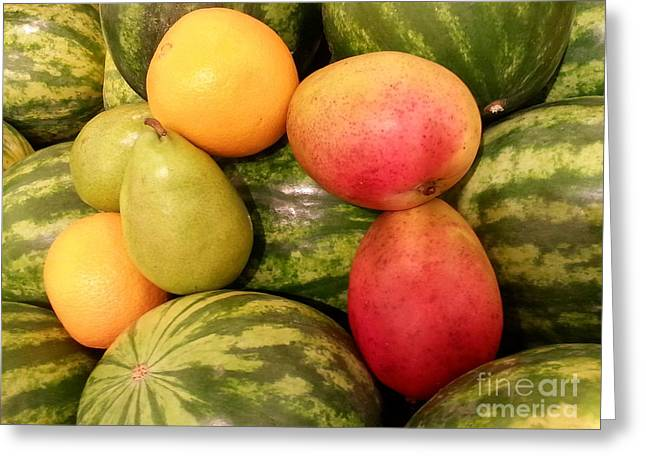 Watermelons And Fruity Friends Greeting Card by Emmy Marie Vickers