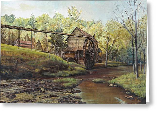 Greeting Card featuring the painting Watermill At Daybreak  by Mary Ellen Anderson