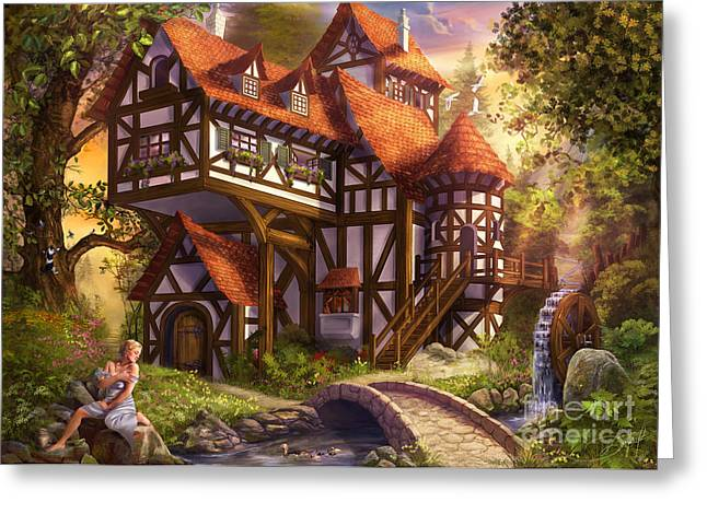 Watermill Greeting Card by Drazenka Kimpel