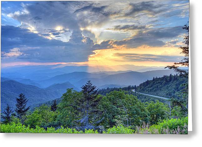 Waterrock Knob Sunset Greeting Card by Mary Anne Baker