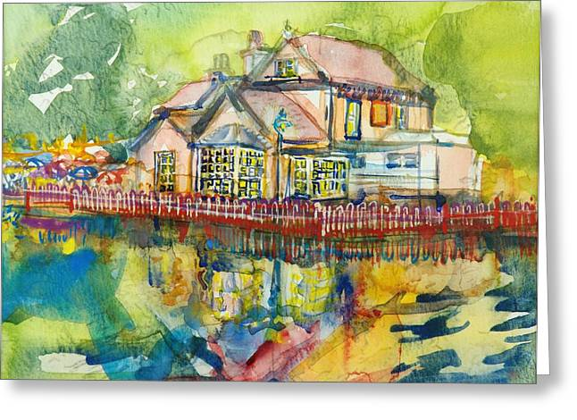 Waterside Tavern Wc On Paper Greeting Card by Brenda Brin Booker